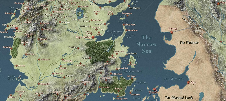 Карта Game of Thrones в виде Google Maps