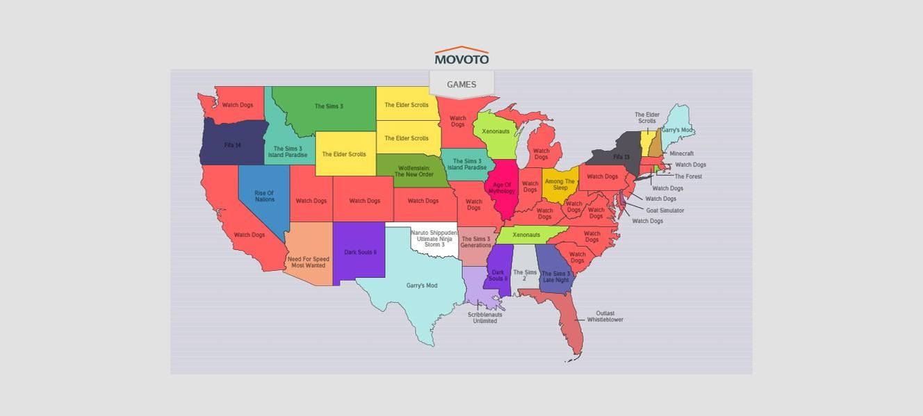 Самые нелегально скачиваемые игры  США по штатам