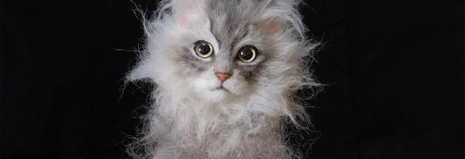 Это не кошка: Как японский мастер создает реалистичных кошек из шерсти