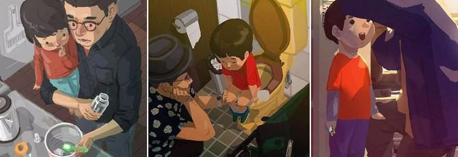 Отец-одиночка изобразил жизнь в трогательных артах