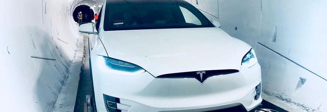 Туннель Маска превращает электромобиль Tesla в мини-поезд