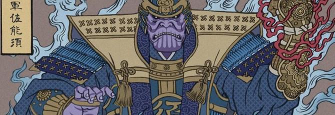 Халк-сумо и Танос-даймё — японские гравюры с Мстителями