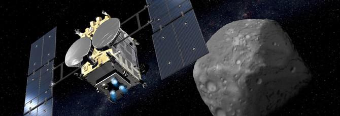 Посмотрите, как японский аппарат Hayabusa2 берет образцы породы с астероида