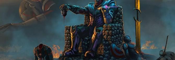 """Танос на троне из черепов — фан-арт вырезанной сцены """"Мстителей: Финал"""""""