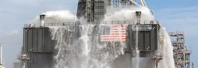 Новая площадка NASA глушит шум двигателей, используя миллион галлонов воды в минуту