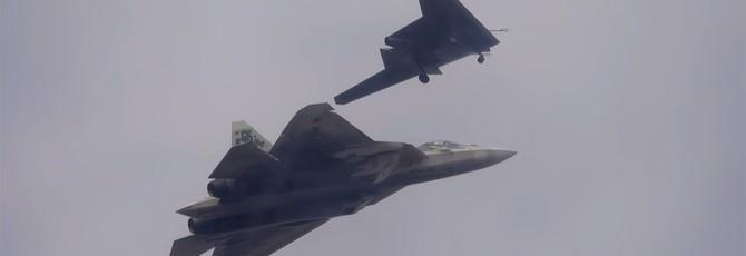 """Минобороны РФ представило видео первого совместного полета беспилотника """"Охотник"""" и Су-57"""
