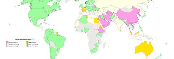 Карта стран с интернет-цензурой