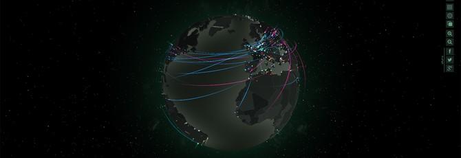 Наблюдайте за кибер-атаками по всему миру в реальном времени