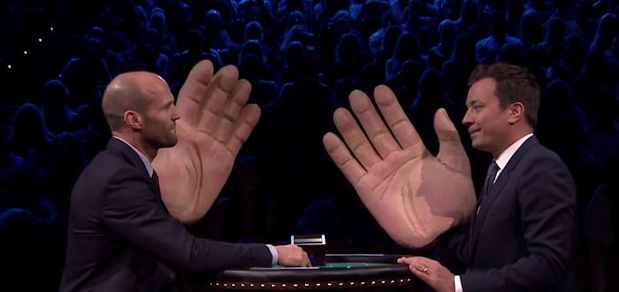 Джейсон Стэйтем получает огромной ладонью по лицу за проигрыш в блекджек