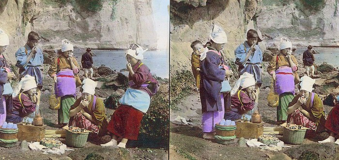 Цветные 3D-фотографии Японии конца 19 века