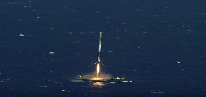 Посадка ракеты SpaceX на баржу в 4K