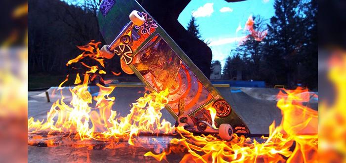 Адские трюки на горящем скейте