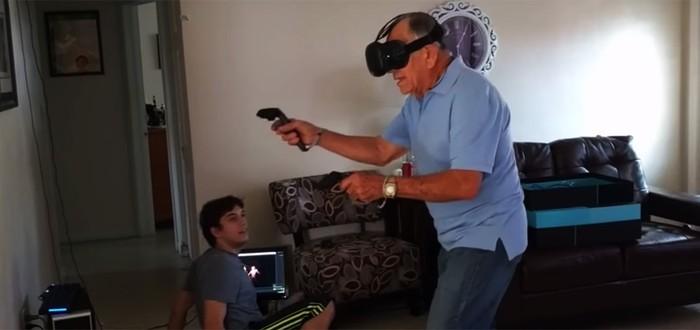 81-летний дед надирает задницу монстрам в Vive