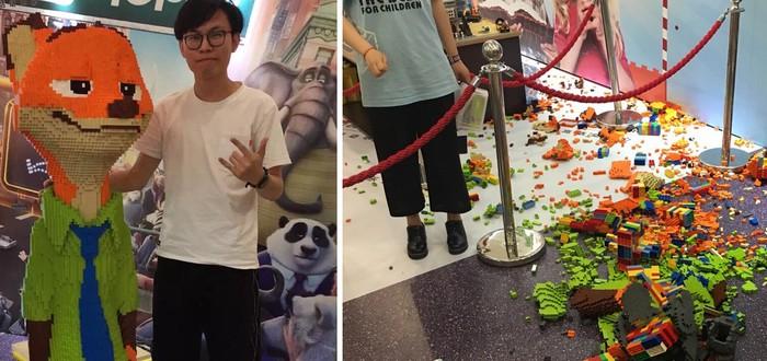 Малолетний вандал разрушил LEGO-статую Лиса из Zootopia