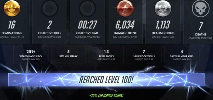 Первый игрок Overwatch достиг 100 уровня после 13 часов игры каждый день