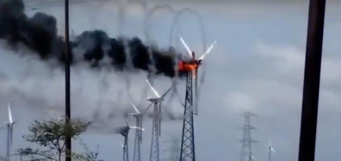 Пылающий ветрогенератор — это красиво