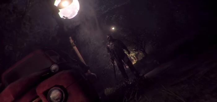 Прыжок через окно в геймплейном видео хоррора Friday the 13th: The Game