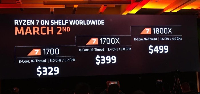 AMD объявила цену и характеристики процессоров Ryzen 7