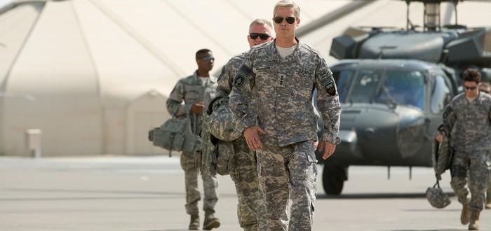 Брэд Питт поучает солдат в трейлере War Machine