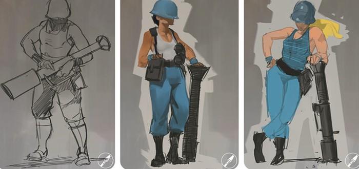 Концепт-арты женских персонажей Team Fortress 2