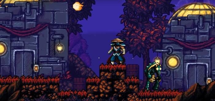 В платформере The Messenger путешествие во времени меняет графику с 8-битной на 16-битную
