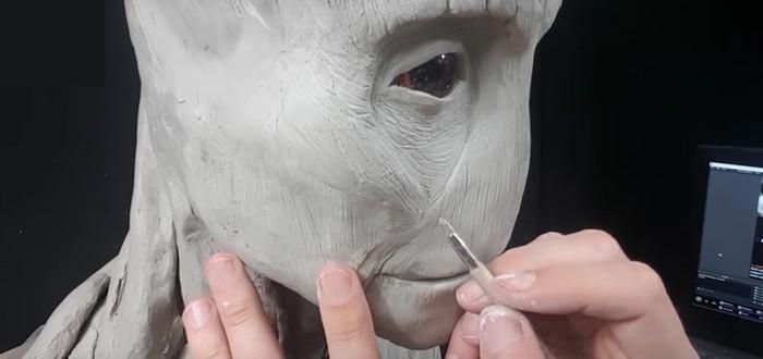 Таймлапс создания скульптуры Грута из глины