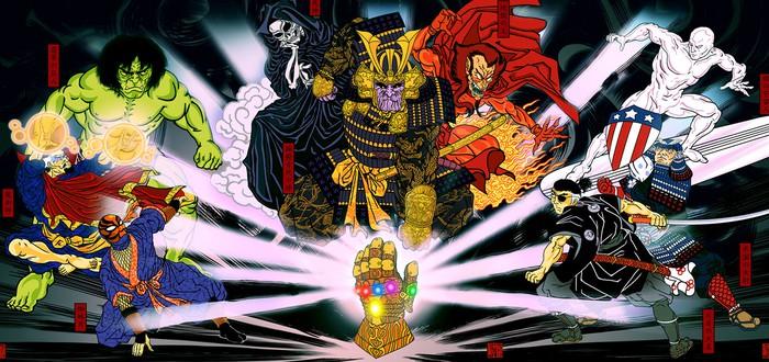 Танос и Мстители в виде традиционной японской иллюстрации