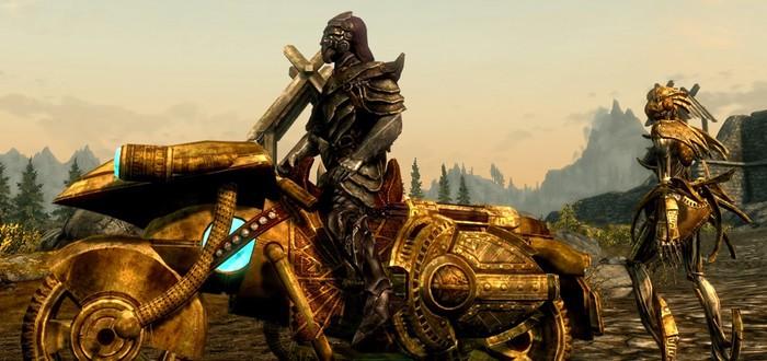Мод для Skyrim заменяет лошадь на байк