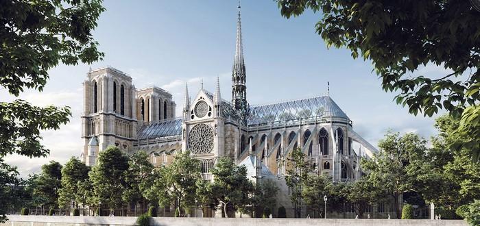 Дизайн-студия представила концепт восстановленного Нотр-Дама с садом на крыше