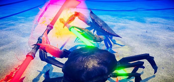Сражения крабов на световых мечах и бензопилах в трейлере Fight Crab