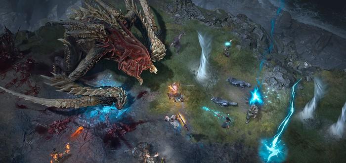 Кооперативное уничтожение дракона в новом геймплеее Diablo 4