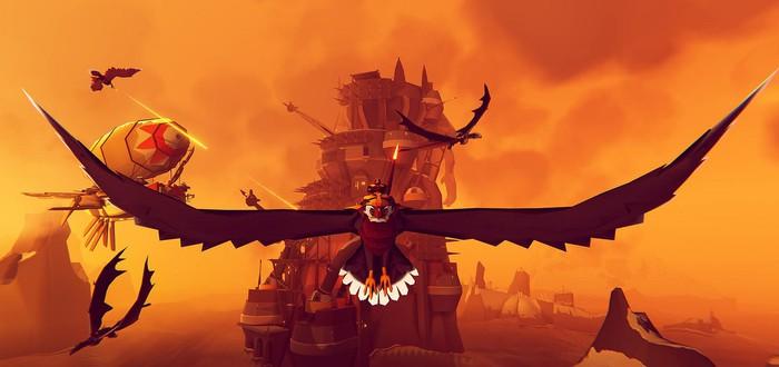 Сражения на гигантских орлах над бушующим морем в геймплее The Falconeer