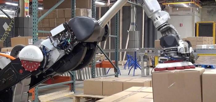 Роботы Boston Dynamics и Otto Motors вместе работают на складе — без людей