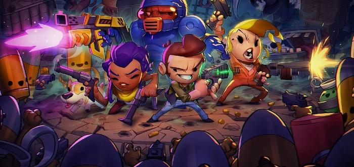 Уничтожение десятков врагов в стартовом геймплее Exit the Gungeon