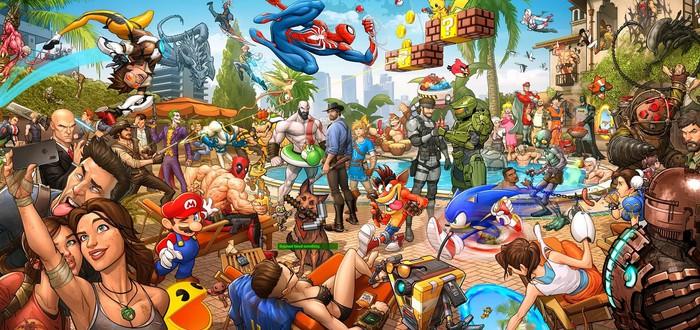 Художник собрал около 70 героев видеоигр в один арт — на работу ушло 4 года