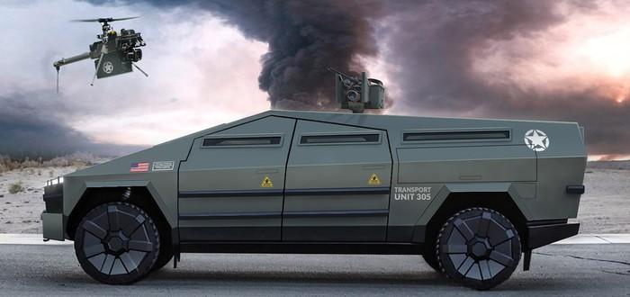 Дизайнер представил военизированную версию Cybertruck в разных комплектациях