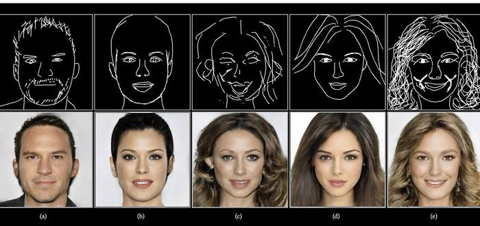 Новая нейросеть в реальном времени генерирует фотореалистичные портреты людей при помощи скетчей