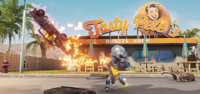 Уничтожение милого американского города в геймплее Destroy All Humans