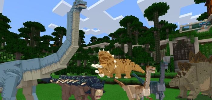 Квадратные динозавры в трейлере дополнения Jurassic World для Minecraft