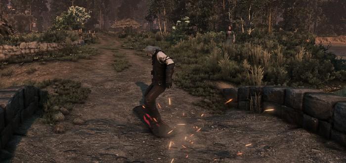 Благодаря моду для The Witcher 3 Геральт может кататься на сноуборде