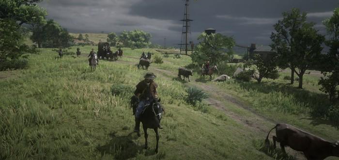 Первый успешный перегон скота в Red Dead Online — коровы не слушались и жрали пейот