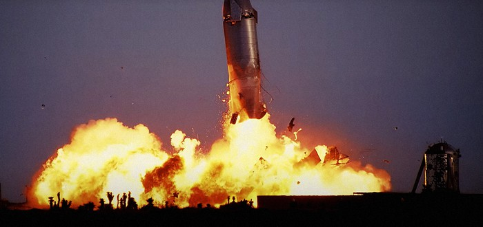 Замедленная съемка взрыва ракеты SpaceX Starship SN10 — Майкл Бэй должен быть счастлив
