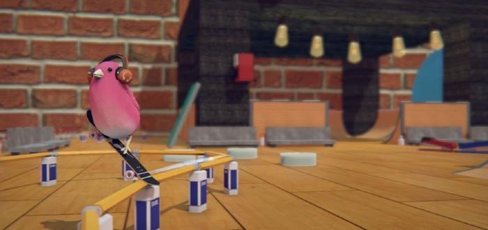 Милая птичка делает мировые трюки на скейтборде в геймплее Skatebird