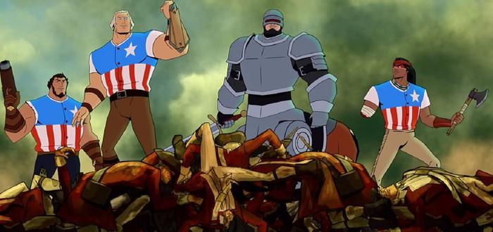 """Матерящийся Джордж Вашингтон с пилами в трейлере мультфильма """"Америка: фильм"""""""