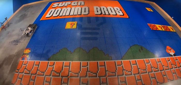 Этот робот составил изображение Super Mario Bros. из 100 тысяч костяшек домино и попал в книгу рекордов Гиннесса
