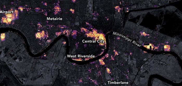 Спутниковое фото обесточенного Нового Орлеана после урагана Ида