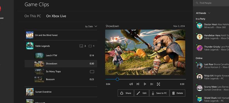 Демонстрация Xbox App на Windows 10, релиз в конце Января