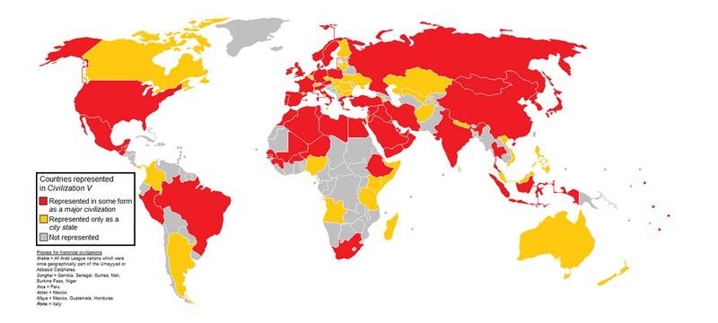Short: Карта мира со всеми странами из Civilization