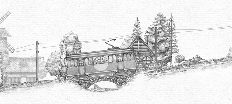 Трамвай, горы, кот в накидке — приятное начало недели