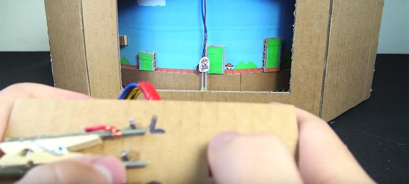 Невероятная игра Super Mario из картона, цветной бумаги и моторов